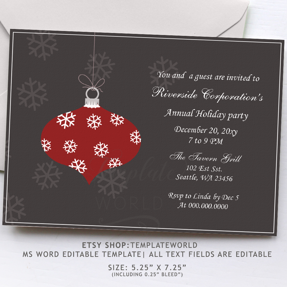 Holiday Party Invitations Template Word from www.mgdezigns.com